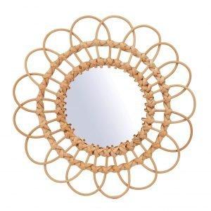 Boho style wicker mirror