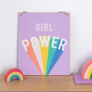 hanging door sign reads girl power