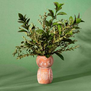 owl terracotta vase